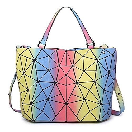 Moda Para Mujer Bolsa De Cubo Luminosa Estilo Japonés Bolso De Costura Geométrica Bolso De Mensajero De Hombro Bolso De Variedad RainbowQueen
