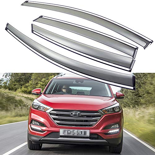 - SPEEDLONG 4Pcs Car Window Visor Vent Shade Deflector Sun/Rain Guard for Hyundai Tucson 2016-2019