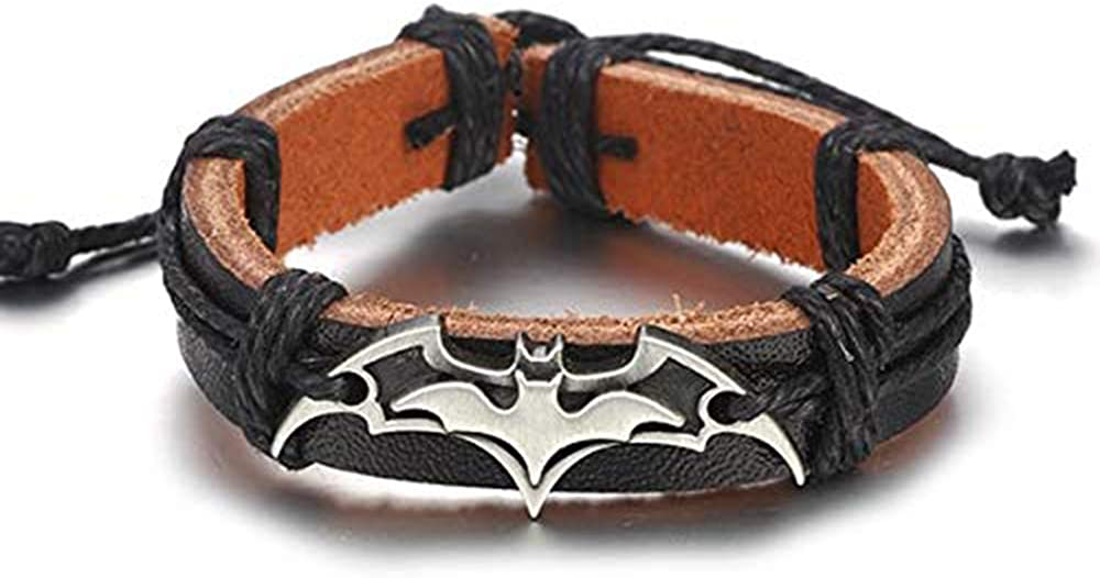 MoMoSo Store Vintage Leather Bracelet for Men/Women Hand Chain Beads Charm Jewelry Accessories, Batman White