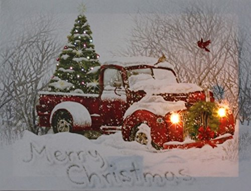 Old Truck With Christmas Tree.Canvas Picture Led Light Old Red Truck Christmas Tree Wall Decor