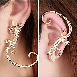 JD Million shop New Hot !!! Fashion Fine Jewelry Bohemian Style Gold Color Rhinestone Lifelike Lizard Gecko Stud Earrings For Women Gifts E-240