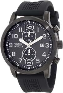 Invicta Men's 11245 Specialty Black Chronograph Carbon Fiber Dial Black Polyurethane Watch