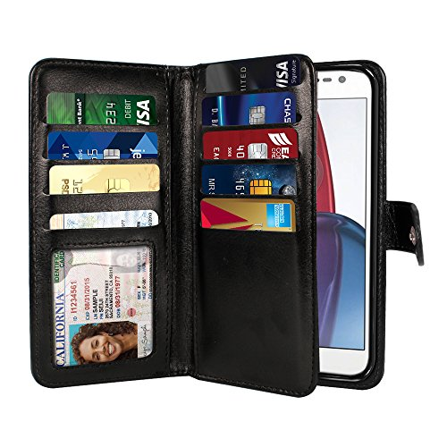 NEXTKIN Moto G4/G4 Plus Case, Leather Dual Wallet Folio TPU Cover, 2 Large Pockets Double flap Privacy, Multi Card Slots Snap Button Strap For Motorola Moto G4/G4 Plus 5.5 inch XT1625 XT1644 - Black
