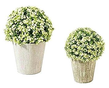 Pflanze Künstlich   2er Sparset: 19cm U0026 24cm   Kleine Kunstpflanze Deko /  Blütenkugel Im
