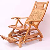 Bamboo Single Rocking Chair,with Telescopic Massage Pedal Foldable Elderly Seat Recliner 624-YY (Color : B)