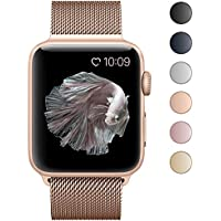 BRG for Apple Watch Band 38mm 42mm, Mesh Milanese Loop Replacement Metal iWatch Band for Apple Watch Series 3 2 1