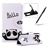 Wallet Leather Case for Moto G6,Flip Case for Moto G6,Herzzer Stylish Premium Hello Panda Printed Magnetic Stand PU Leather with Inner Soft Rubber Case
