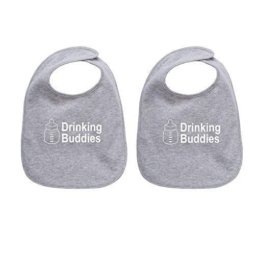 Milk Drinking Buddies Twin Set Unisex Newborn Baby Soft Cotton Blend Bibs, (Twin Baby Shower)