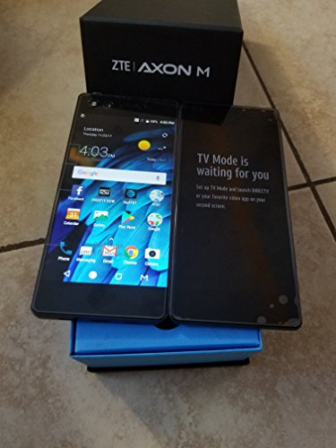 New Cell Phone Charm - ZTE Axon M Z999 Unlocked GSM Smartphone w/ 20MP Camera and Foldable Dual Screens (for Multi-Tasking) - Carbon Black
