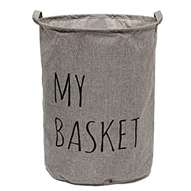KINGSO Foldable Round Laundry Basket Hamper Storage Bag 50*42cm Gray