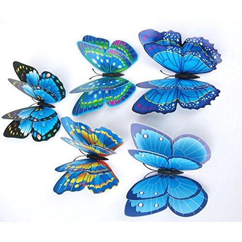 ViShow 12 Sets Of 3D Double Layer Butterfly Wall Stickers,Fridge Sticker,Magnet Room Decor Decal Applique Fashion Art Diy Modern Design Home Room,For Birthday Party Wedding Nursery Bedroom (Blue)