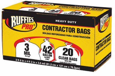 Berry Global 1190273 20-Pack 42-Gallon Clear Contractor Bags - Quantity 168