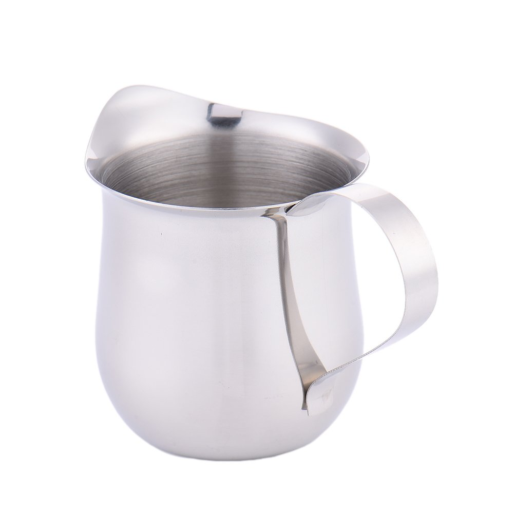 60ml Milk Frothing Pitcher, Stainless Steel Creamer Milk Cup Condensed Drum for Espresso Machine, Coffee Milk Frother and Latte Maker US-PopTrading