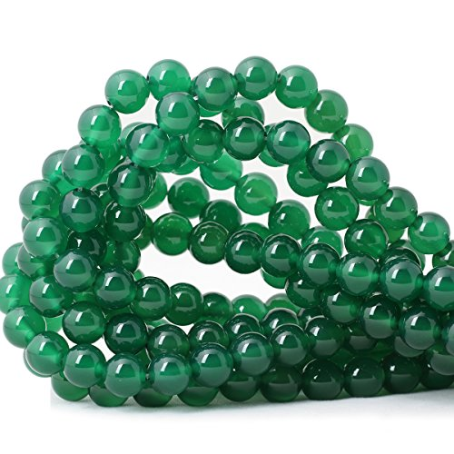 (Qiwan 35PCS 10mm Smooth surface Green Onyx Agate Round Loose Beads Energy Stone for Jewelry Making 1 Strand)