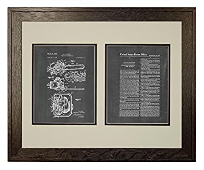 Chain Saw Patent Art Print in a Rustic Oak Wood Frame with a Double Mat