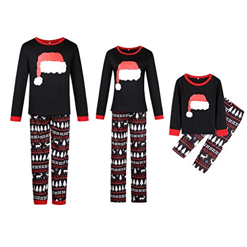 Christmas Hat Family Matching Xmas Pajamas,Cotton Sleepwear Holiday PJs Sets Mom S]()