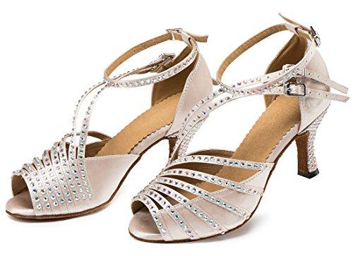 Tda Womens Cinturino Alla Caviglia Cristalli Cut-out In Raso Sexy Tango Da Ballo Moderno Scarpe Da Ballo Latino Da Ballo Beige