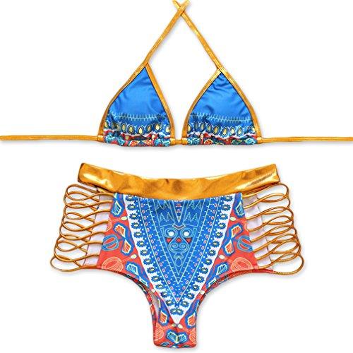 Ltd Leather Halter (IH-TECH Bikini Swimsuit for Women, High Waist Sexy Swimsuit Bikini Set African Tribal Metallic Cutout)