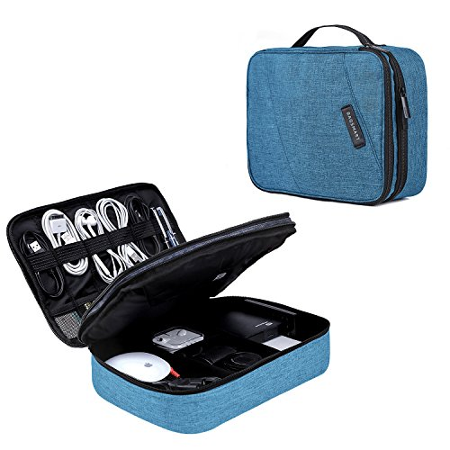 BAGSMART Double Layer Travel Universal Cable Organizer Cases Electronics Accessories Storage Bag for 10.5 iPad Pro, iPad air, Charger, Kindle