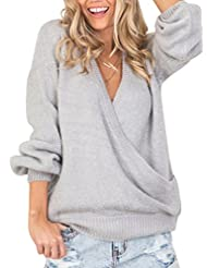Simplee Women's Loose Lantern Sleeve V Neck Ribbed Knit Sweater Pullover