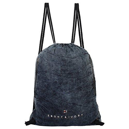 - EBONY & IVORY Vintage Denim Premium Drawstring Double Zip Backpack - Cloudy Grey