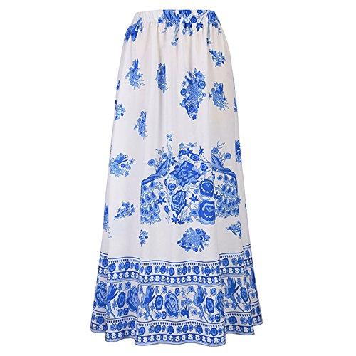 Price comparison product image JIANGTAOLANG Women Boho Floral Print Long Skirt Ethnic Beach Party Vintage Maxi Ankle Length Skirt Blue L