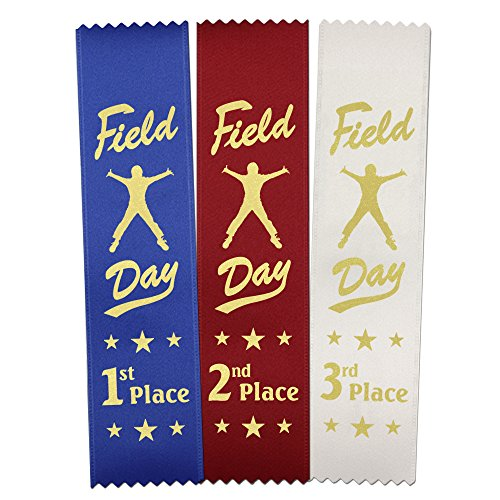 Field Day Award Ribbons: 300 Count Value Bundle 100 Each - Blue 1st Place, Red 2nd Place, White 3rd Place - Made in The USA