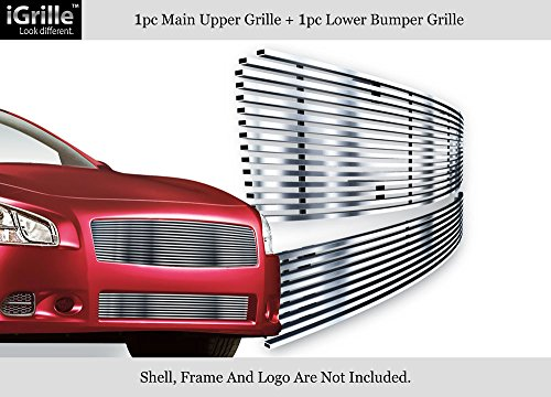 APS Fits 2009-2014 Nissan Maxima Stainless Polished Chrome Billet Grille Insert Upper+Lower Combo #N87774S