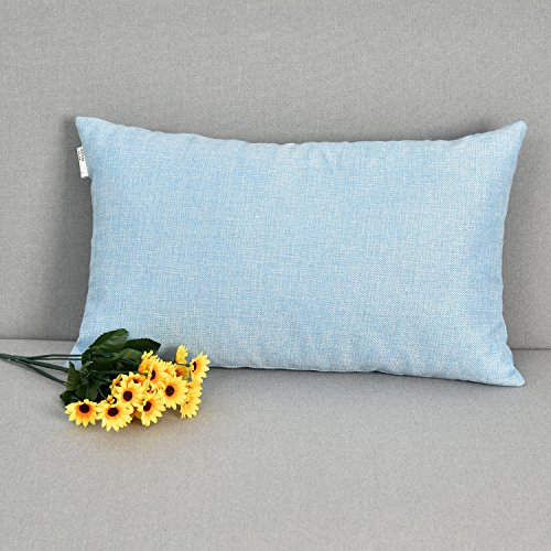 Natus Weaver Decoration Rectangular Linen Burlap Decor Square Throw Cushion Cover Pillow Sham for Living Room, Light Blue, 12 x 20 Inches - Blue Rectangular Pillow