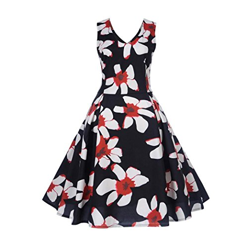 Internet Sexy Femme Robe Vintage  Pois Bodycon sans Manches Casual Robe de Soire Prom Swing Robe 1950 's Style Audrey Hepburn Rockabilly Pin-up Robes Plisses Col Rond Jy12023