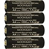 Moonrays 97142 AA NiMh Pre-Charged Rechargeable Batteries for Solar Lights 1000mAh, 4 Pack