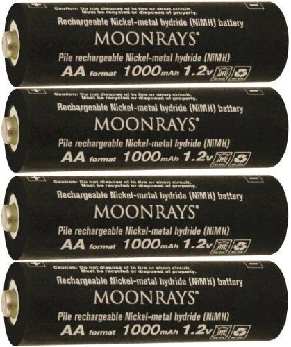 Moonrays 97142 4-Pack AA NiMh Pre-Charged Rechargeable Batteries for Solar Lights, 1000mAh