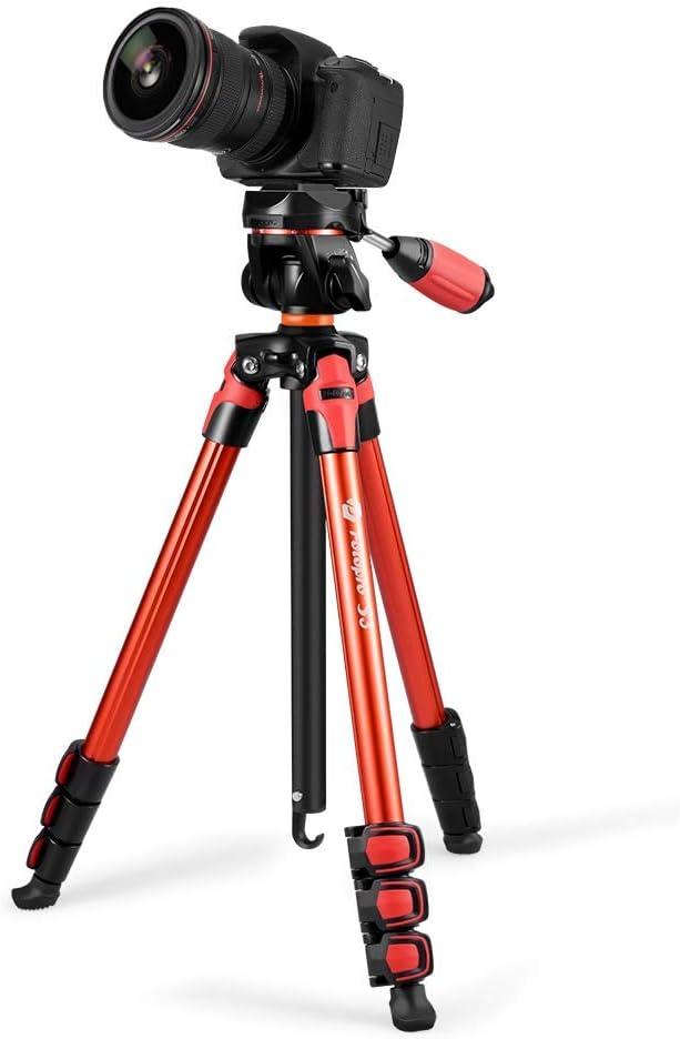 Sony tragbares Reisestativ kompakt mit 3-Wege-Neiger Pentax Nikon Olympus Rot 56,89 Kamera Stative Fotostativ Samsung Handyhalterung f/ür iPhone Fotopro Stativ
