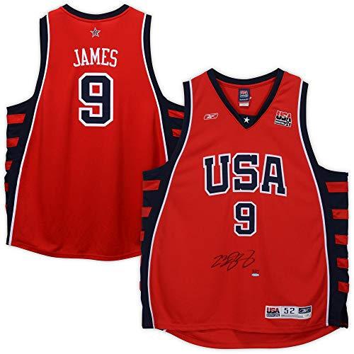 (LeBron James Team USA Autographed Red Reebok Authentic Jersey - Limited Edition of 123 - JSA Certified)