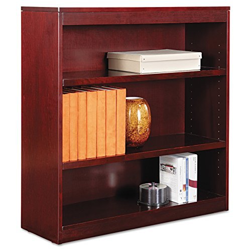 Alera ALEBCS33636MY Square Corner Wood Veneer Bookcase, Three-Shelf, 35-5/8 x 11-3/4 x 36, Mahogany