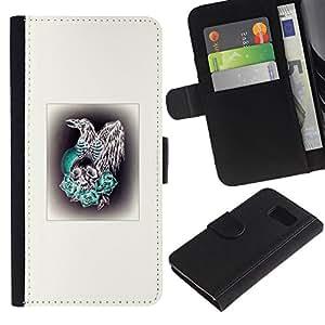 Paccase / Billetera de Cuero Caso del tirón Titular de la tarjeta Carcasa Funda para - Bird Prey Hawk Skull Poster White - Samsung Galaxy S6 SM-G920
