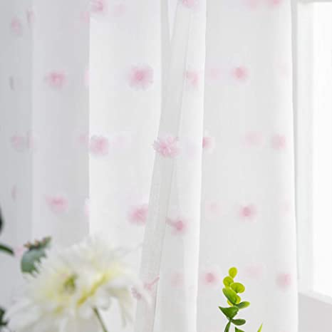 Embroidered with Floral Pom Pom Voile Sheers Eyelet Sheer Voile Drapes for Bedroom White Sheer Curtains Girls Nursery Room 1 Panel Living Room