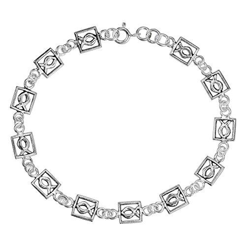 - AeraVida Christian Fish Jesus .925 Sterling Silver Link Bracelet