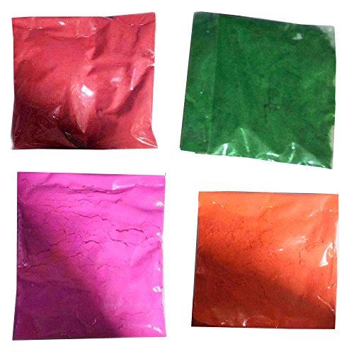 Diwali Rangoli Colors, 4 Colors for Making Rangoli, Colors, 50 Gram Packets (Colors Dark Pink / Orange / Dark Green / Red )
