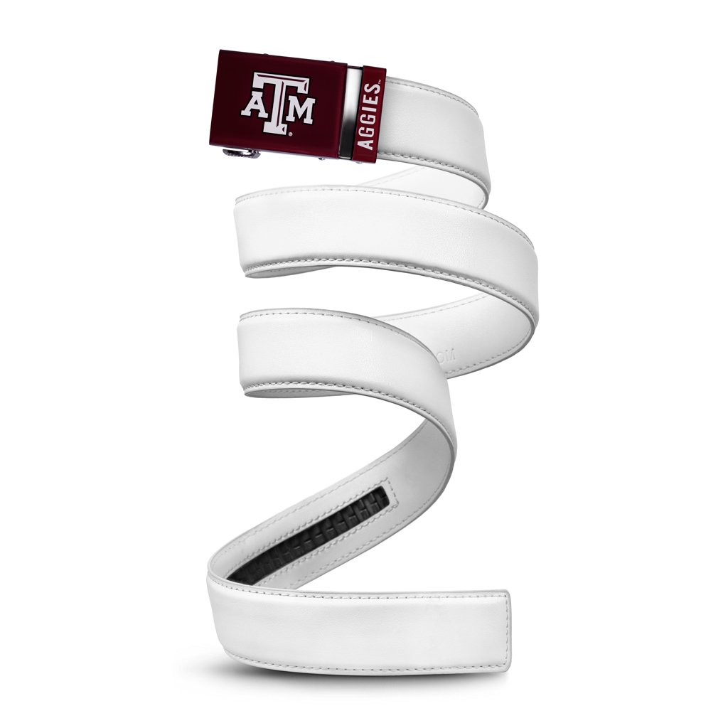Mission Belt NCAA Texas A&M Aggies, White Leather, Large (up to 38) TAM-SNO-1.5-L