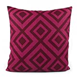 Chloe & Olive Geometric Contemporary Throw Toss Pillow - Linen - Dark Red Wine and Magenta Pink - Size Options 18''x18'' or 20''x20'' Square Accent Pillow Cover - David Hicks Groundworks - La Fiorentina