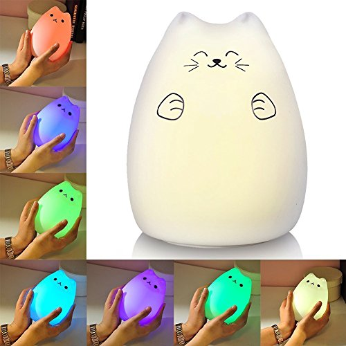 Litake Baby Kid LED Night Light, USB Rechargeable Multi Color Portable Silicone Soft Cat Night Lights with Warm White and 7-Color Breathing Modes (Rich Cat)