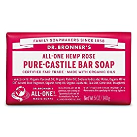 Dr. Bronner's Rose Bar Soap Made with Organic Ingredients 140 g by Dr. Bronner's 49