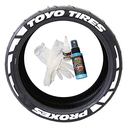 Tire Stickers Toyo Tires Proxes Frost Edition - DIY Permanent Rubber Tire Lettering Kit with Glue & 2oz Bottle Touch-Up Cleaner / 19-21 Inch Wheels / 1.50 Inches/White 8 Pack
