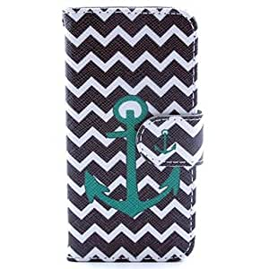 JOE Green Anchor with Stripe Pattern PU Leather Full Body Case with Stand and Card Slot and Money Holder for iPhone 5/5S