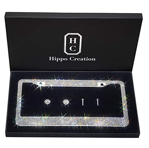 1 Pack Luxury Handcrafted Bling White Rhinestone Premium Stainless Steel License Plate Frame with Gift Box | 1000+ pcs Finest 14 Facets SS20 Clear White Rhinestone Crystal | Anti-Theft Screw Cap