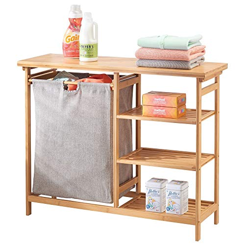 Station Wood - mDesign Bamboo Wood Laundry Station - Furniture Storage System with Hamper - 3 Open Storage Shelves to Organize Detergent, Liquid Fabric Softener, Bleach, Dryer Sheets, Stain Removers - Natural Finish