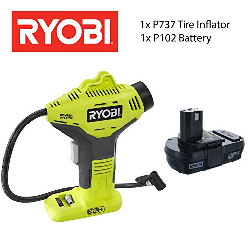 RYOBI Tire Inflator Combo One+: P737 Tire Inflator With P102 18V Lithium Ion Cordless Battery