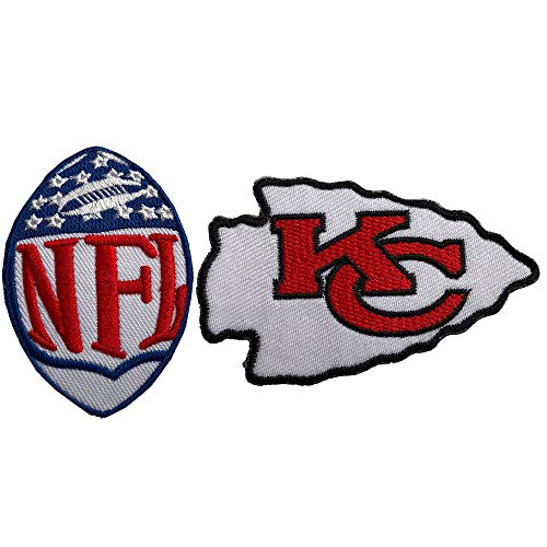 Hipatch Kansas City Chiefs Embroidered Patch Iron on Logo Vest Jacket Cap Hoodie Backpack Patch Iron On/sew on Patch Set of 2Pcs