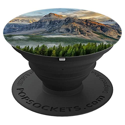 Mountain Snow Alpinist Hiking Climbers Camping Pine Trees - PopSockets Grip and Stand for Phones and Tablets